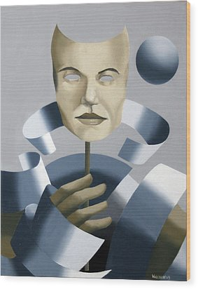 Abstract Mask Oil Painting Wood Print by Mark Webster