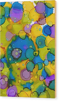 Wood Print featuring the painting Abstract Microscope Party by Nikki Marie Smith