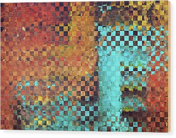 Abstract Modern Art - Pieces 1 - Sharon Cummings Wood Print by Sharon Cummings