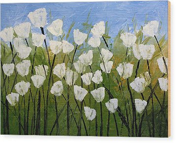 Abstract Modern Floral Art White Tulips By Amy Giacomelli Wood Print by Amy Giacomelli