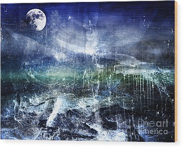 Abstract Moonlit Seascape Painting 36a Wood Print