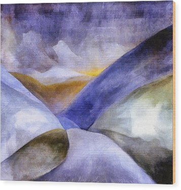Abstract Mountain Landscape Wood Print by Michelle Calkins