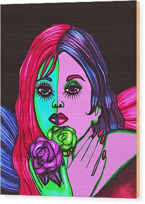 Abstract Neon Rose Fairy Wood Print