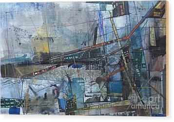 Wood Print featuring the painting Abstract Nyc #2 by Robert Anderson