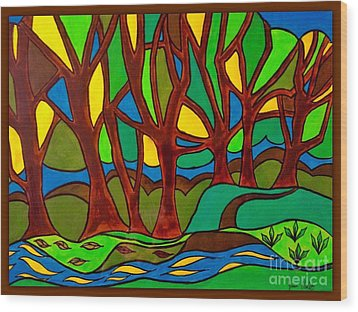Abstract Of The Otter Pool Wood Print