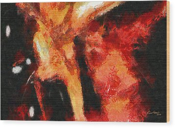 Abstract Orange Red Wood Print by Russ Harris