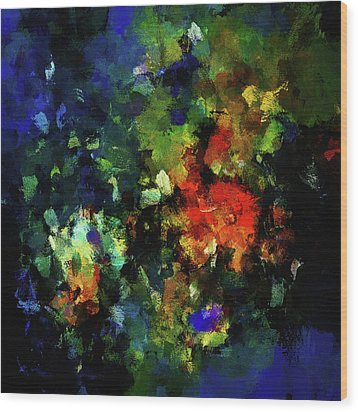 Wood Print featuring the painting Abstract Painting In Dark Blue Tones by Ayse Deniz