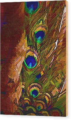 Abstract Peacock Wood Print by Ches Black