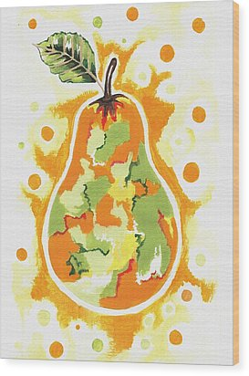 Wood Print featuring the painting Abstract Pear by Kathleen Sartoris
