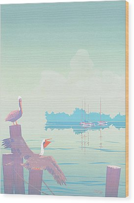 Abstract Pelicans Tropical Florida Seascape Sailboats Large Pop Art Nouveau 1980s Stylized Painting Wood Print by Walt Curlee