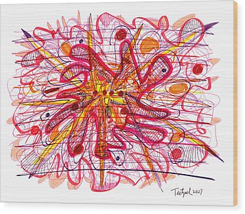 Abstract Pen Drawing Fifteen Wood Print by Lynne Taetzsch