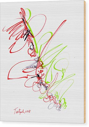 Abstract Pen Drawing Seventy Wood Print by Lynne Taetzsch