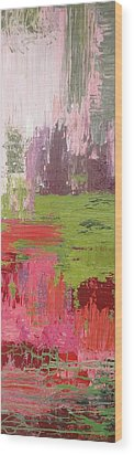 Abstract Pink And Green Wood Print