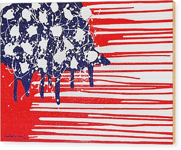 Abstract Plastic Wrapped American Flag Wood Print