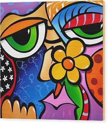 Abstract Pop Art Original Painting Scratch N Sniff By Fidostudio Wood Print