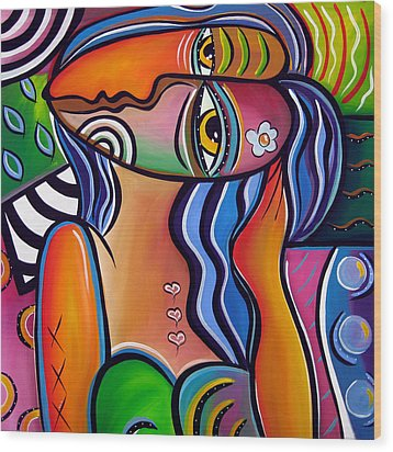 Abstract Pop Art Original Painting Shabby Chic Wood Print