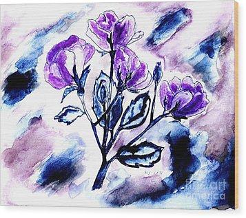 Abstract Purple Roses Wood Print by Marsha Heiken