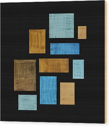 Abstract Rectangles Wood Print by Frank Tschakert