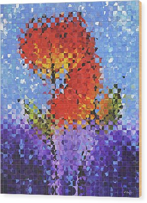 Abstract Red Flowers - Pieces 5 - Sharon Cummings Wood Print by Sharon Cummings