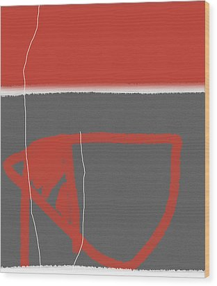Abstract Red Wood Print by Naxart Studio