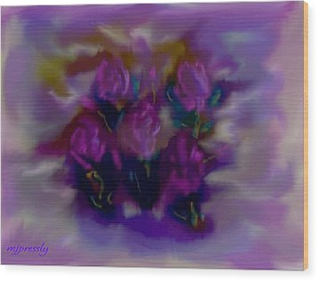 Abstract Roses Wood Print by June Pressly