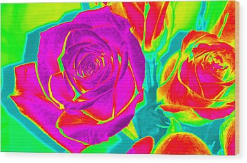 Abstract Roses Wood Print by Karen J Shine