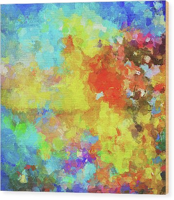 Wood Print featuring the painting Abstract Seascape Painting With Vivid Colors by Ayse Deniz