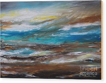 Abstract Seascape Wood Print by Patricia L Davidson