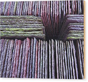 Abstract Slate Pile Wood Print by Meirion Matthias