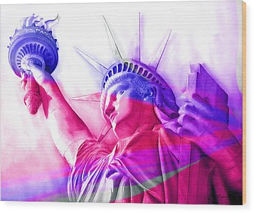 Wood Print featuring the painting Abstract Statue Of Liberty 7 by J- J- Espinoza