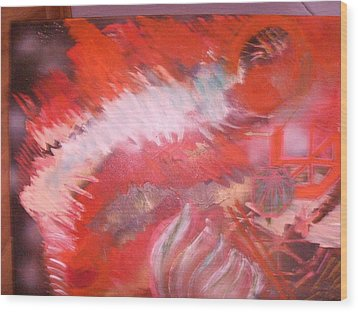Abstract Study In Red  Wood Print by Anne-Elizabeth Whiteway