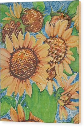 Wood Print featuring the painting Abstract Sunflowers by Chrisann Ellis