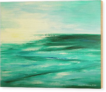 Abstract Sunset In Blue And Green Wood Print by Gina De Gorna