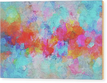 Wood Print featuring the painting Abstract Sunset Painting With Colorful Clouds Over The Ocean by Ayse Deniz
