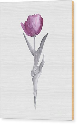 Abstract Tulip Flower Watercolor Painting Wood Print by Joanna Szmerdt