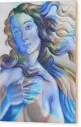 Wood Print featuring the painting Abstract Venus Birth 4 by J- J- Espinoza