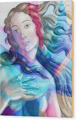 Wood Print featuring the painting Abstract Venus Birth 6 by J- J- Espinoza