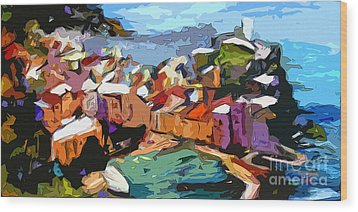 Abstract Vernazza Italy Cinque Terre Wood Print