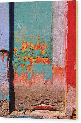 Abstract Wall By Michael Fitzpatrick Wood Print by Mexicolors Art Photography