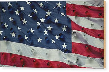 Wood Print featuring the painting Abstract Water Drops On Usa Flag by Georgeta Blanaru