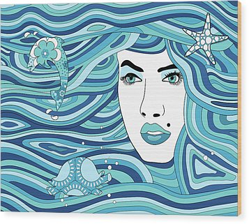 Abstract Water Element Wood Print by Serena King