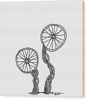 Abstract Wheels Wood Print by Karl Addison