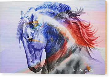 Wood Print featuring the painting Abstract White Horse 44 by J- J- Espinoza