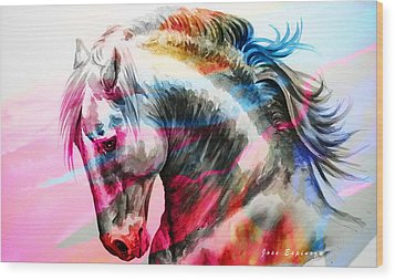 Wood Print featuring the painting Abstract White Horse 45 by J- J- Espinoza