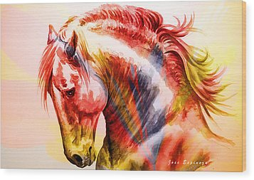 Wood Print featuring the painting Abstract White Horse 46 by J- J- Espinoza