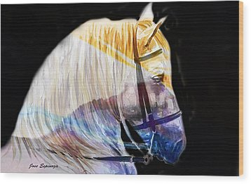 Wood Print featuring the painting Abstract White Horse 50 by J- J- Espinoza