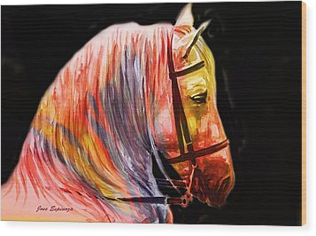 Wood Print featuring the painting Abstract White Horse 52 by J- J- Espinoza