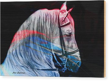 Wood Print featuring the painting Abstract White Horse 53 by J- J- Espinoza