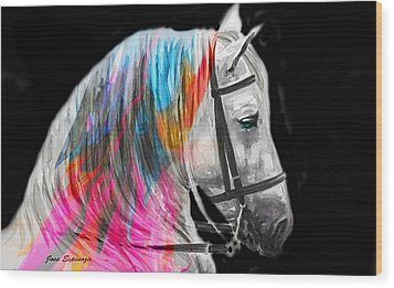 Wood Print featuring the painting Abstract White Horse 54 by J- J- Espinoza