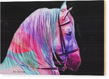 Wood Print featuring the painting Abstract White Horse 55 by J- J- Espinoza